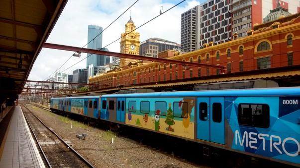 Metro train at Flinders street station