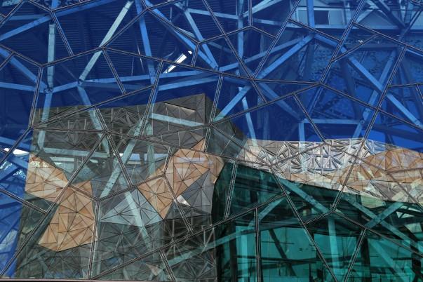 Glass Patterns on Atrium at NGV Australia: Ian Potter Centre of Art