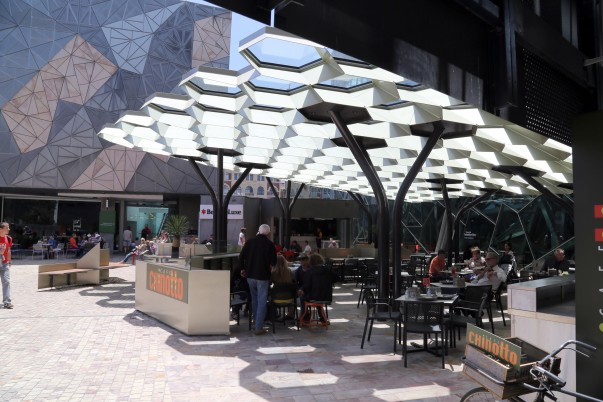Open air café at Federation square (especially honeycomb shaped roof)