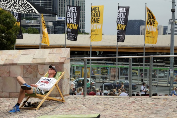 Simply chill out or relax on deck chairs available free at Fed square, Melbourne