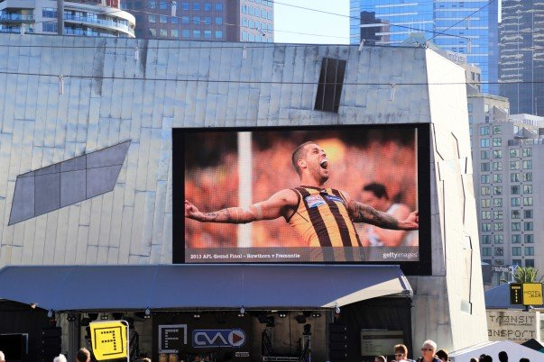 TV screen for live action at Fed Square, Melbourne