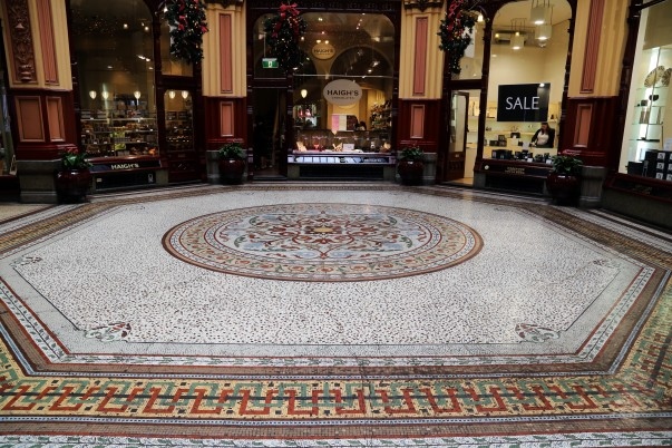 Mosaic tiled flooring at the central Atrium of the Block Arcade