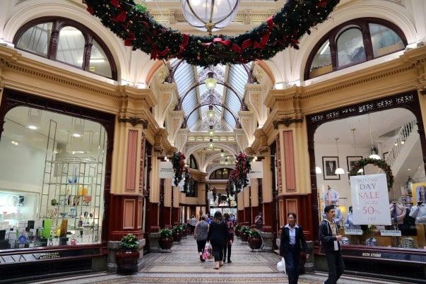 Rich Victorian-era architecture and décor inside the Block Arcade