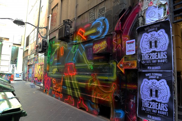 Street side Graffiti at one of the laneways