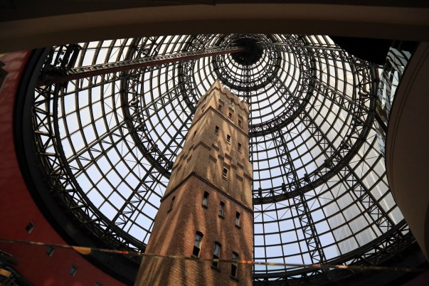 Coops Shot tower preserved under the Glass dome at Melbourne Central