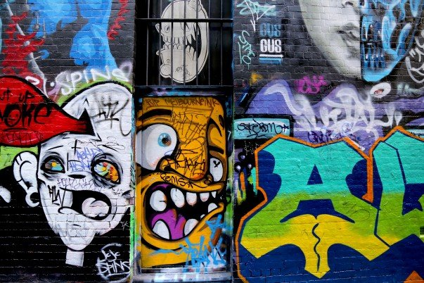 Colorful world of spray paint graffiti at Hosier lane
