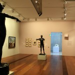 Inside NGV Gallery with paintings and sculpture displays