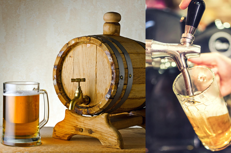 wooden barrel and someone is pouring beer