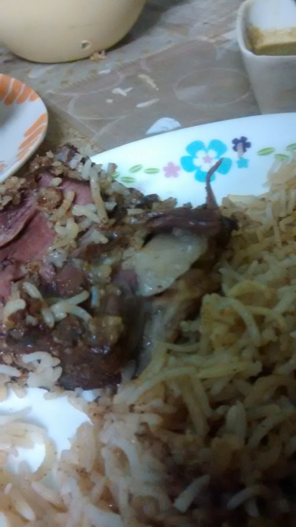 The white portion in the meat is the Rewaj- it was already gulped down before I coudl take  a better picture