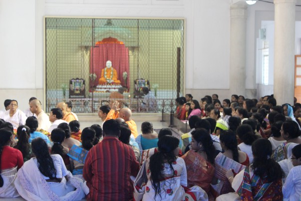 Devotees inside the main temple