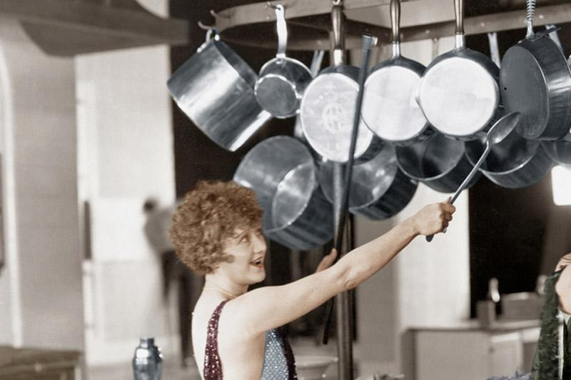 Bang pots and pans together