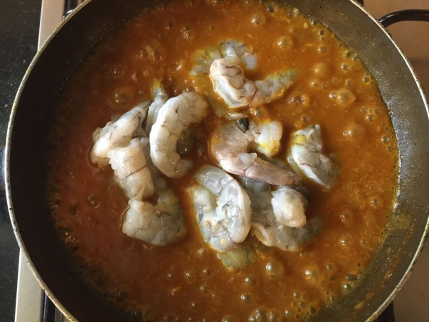 Adding Shrimps to Burmese Shrimp Curry