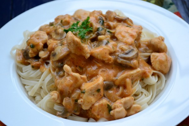 Chicken Stroganoff - Served On a Bed Of Noodles