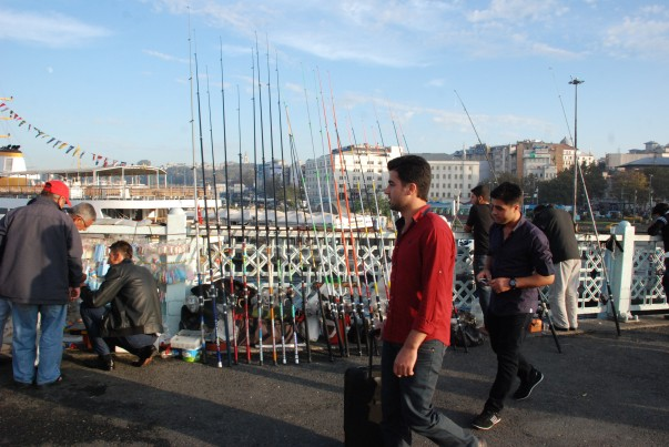 Fishing lines for rent at Galata Bridge