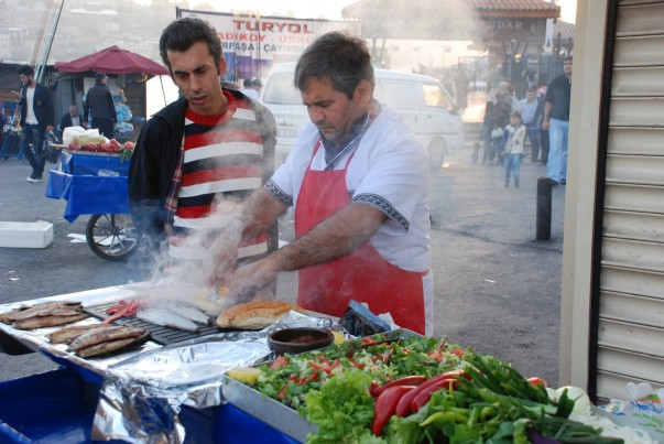 Grilled Fish Sandwich - Street food at Galata Bridge, Istanbul
