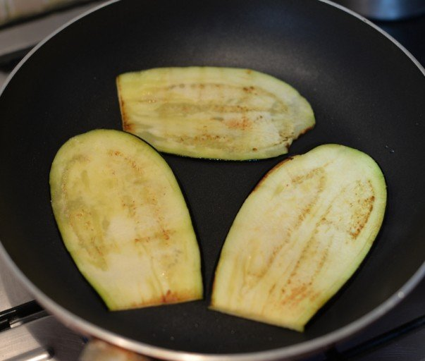 Greek Moussaka - Frying Eggplant