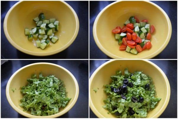 Greek Salad Mixing Vegetables