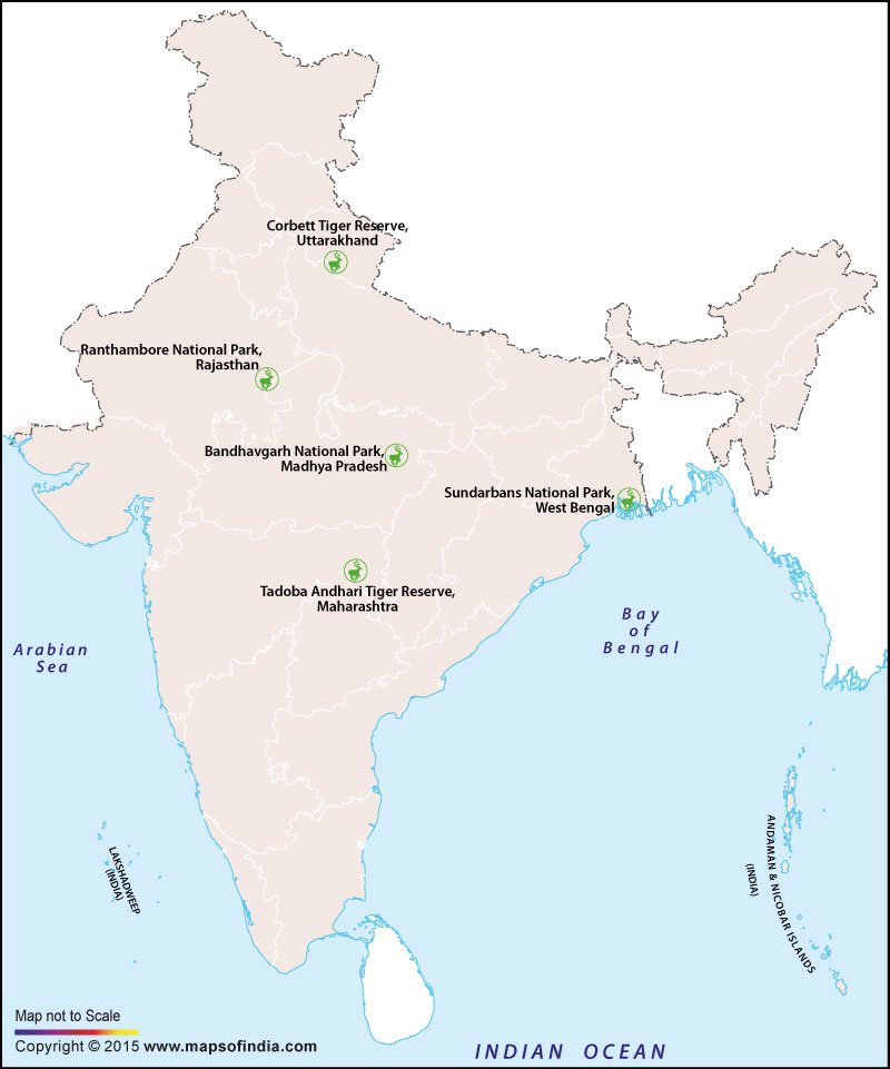 Map of Tiger Sanctuaries in India