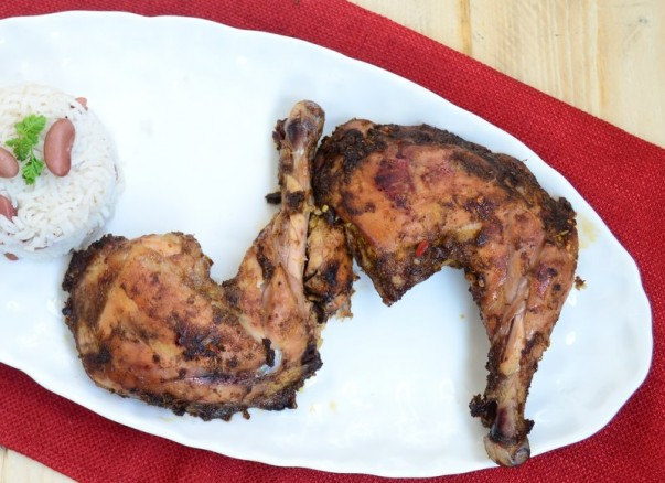Jamaican Jerk Chicken Served With Rice