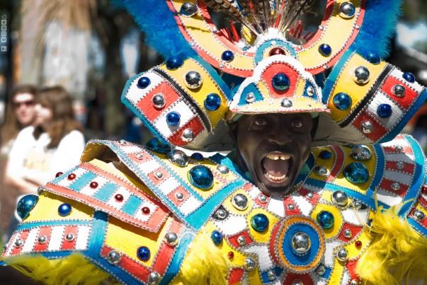 During Junkanoo Parade in Bahamas