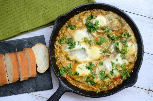 Moroccan Shakshuka Served with Bread
