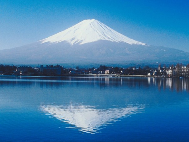 Mount Fuji is renowned for its perfectly symmetrical conical peak
