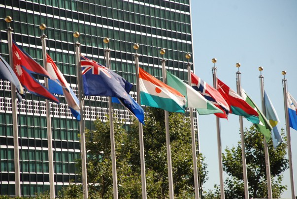 Flags outside United Nations Building