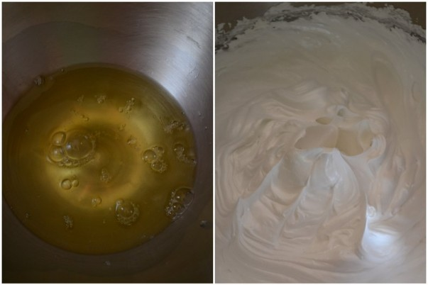 Pavlova - Eggs Before & After Whisking With Sugar