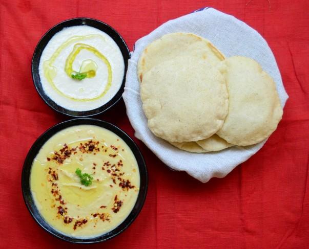 Pita Bread, Hummus & Tahini Dips