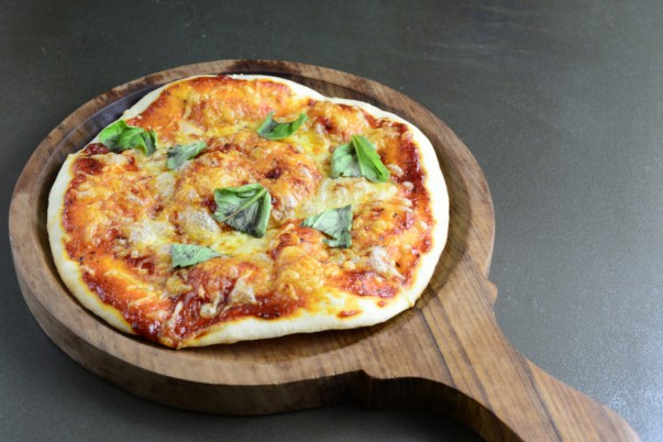 Pizza Margherita Served