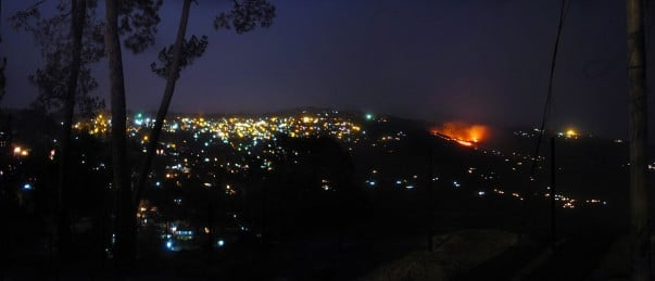 Ranikhet town at night