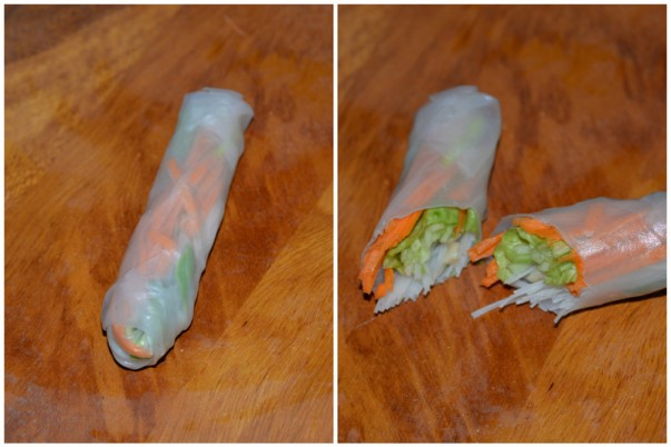 Rice paper rolls - fold and cut