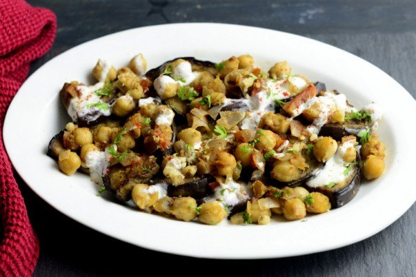 Turkish Grilled Aubergines with Spicy Chickpeas and Walnut Sauce