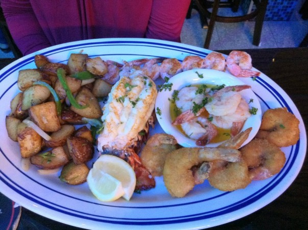 A mixed plate with grilled, scampi and deep fried shrimps, and grilled lobster