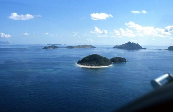 Vista aérea de las Islas Mamanuca en Fiji