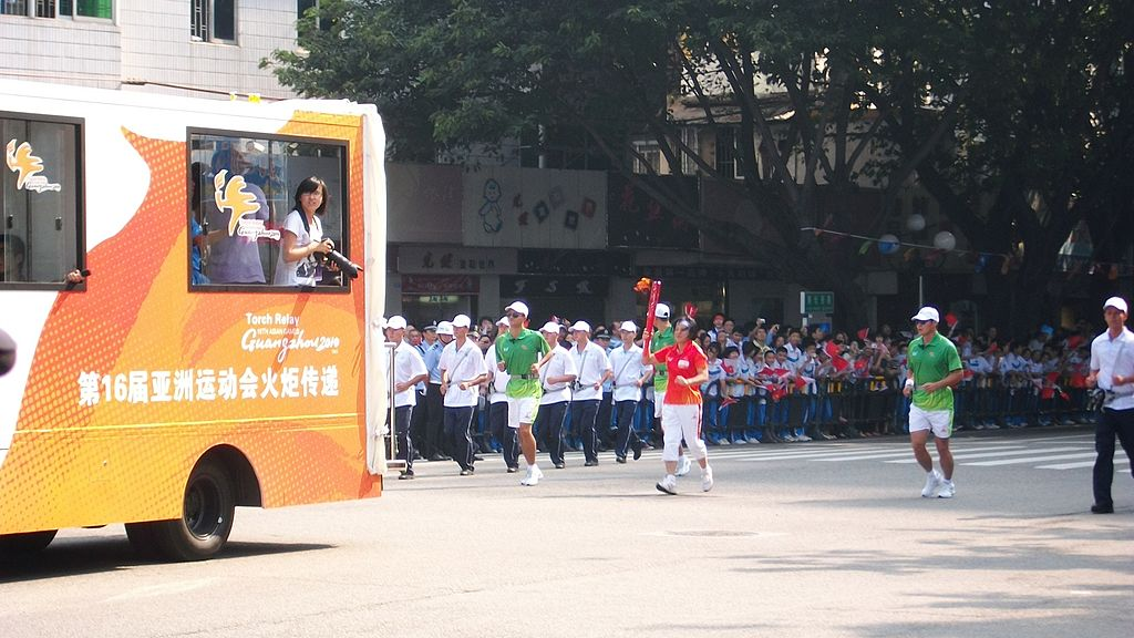 Picture from the torch relay ceremony of the Guangzhou Asian Games