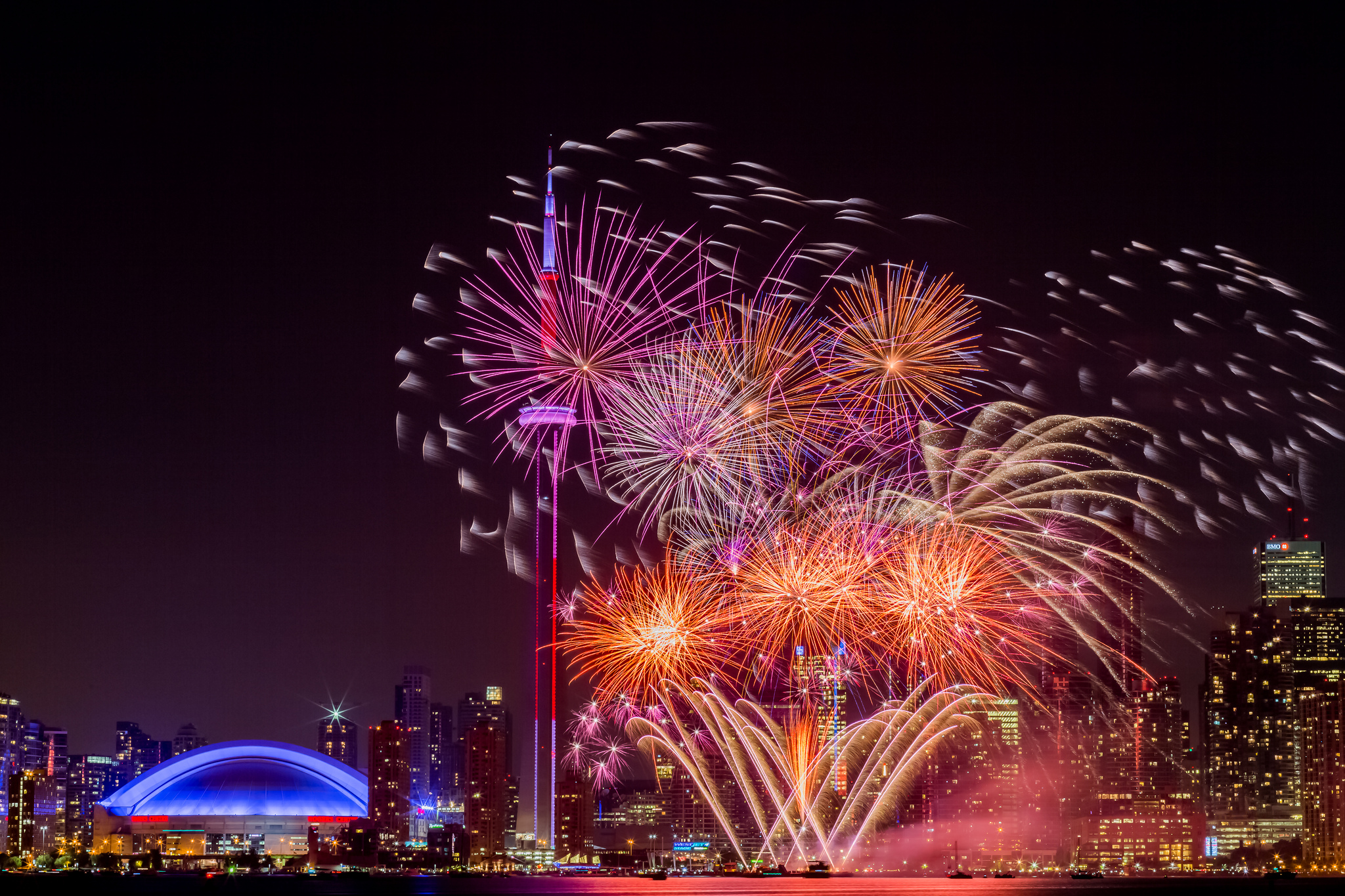 Fireworks on display during Canada Day in Toronto