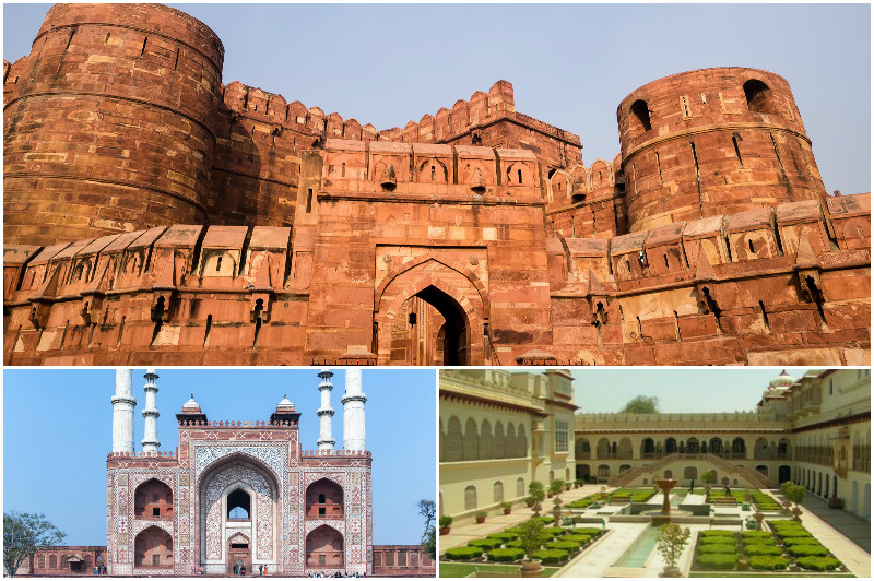 Agra Fort (top), Tomb of Akbar (left), and Ram Bagh (right)