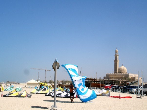 Jumeirah Beach offers adventure sports and a mosque in the background