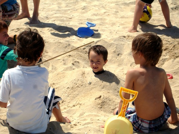 Children in playful mood at Jumeirah Beach
