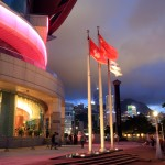 Forefront of HKCEC with Hong Kong Flag