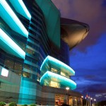 Vividly lit HKCEC at night