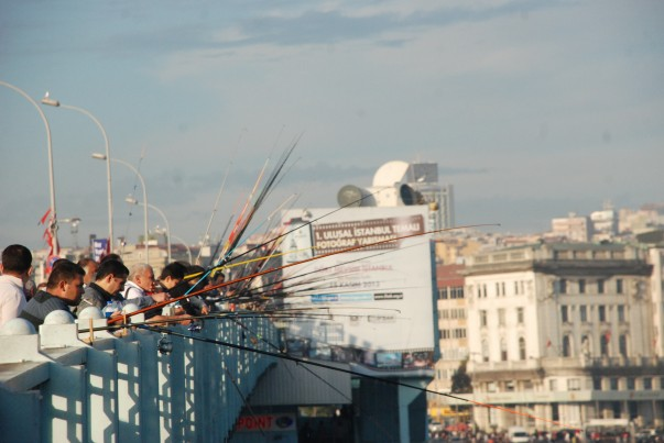 Fishing Off The Galata Bridge in Istanbul