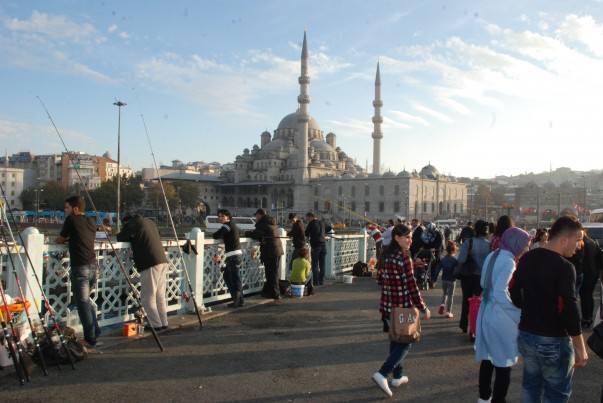Galata Bridge with Mosque in background