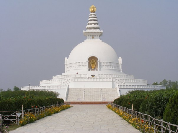 The World Peace Pagoda at Lumbini, Nepal