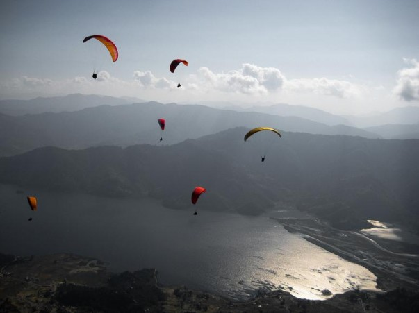 Paragliding at Pokhara Valley in Nepal