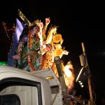 The deity atop a lorry on her way to immersion