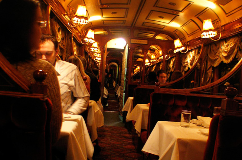 The food served inside the vintage tram image