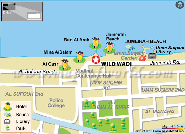 Location Map of Wild Wadi Park