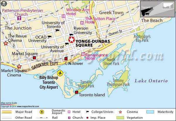 Location Map of Yonge Dundas Square